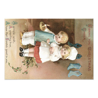 Children Stockings Holly Candle Photo Print
