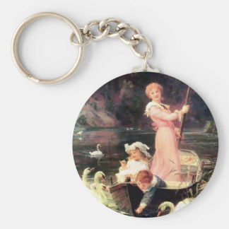 Children Swans Water Boat painting Key Chains
