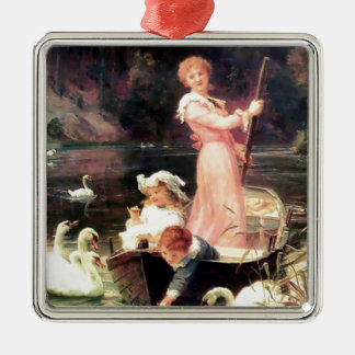 Children Swans Water Boat painting Metal Ornament