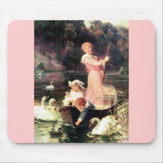 Children Swans Water Boat painting Mouse Pad