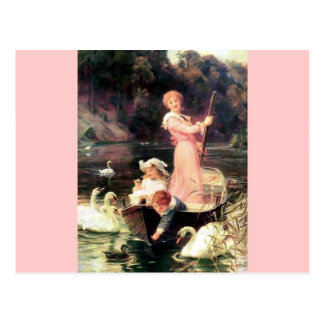 Children Swans Water Boat painting Postcard