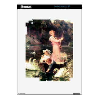 Children Swans Water Boat painting Decal For iPad 2