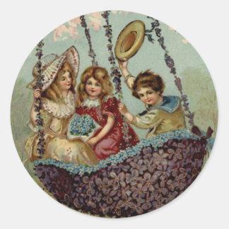 Children Swing Forget Me Not Flower Tree Classic Round Sticker