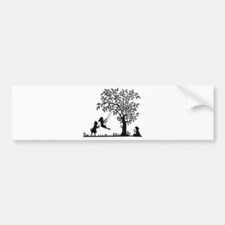 CHILDREN THREE PLAYING ON A TREE BUMPER STICKER
