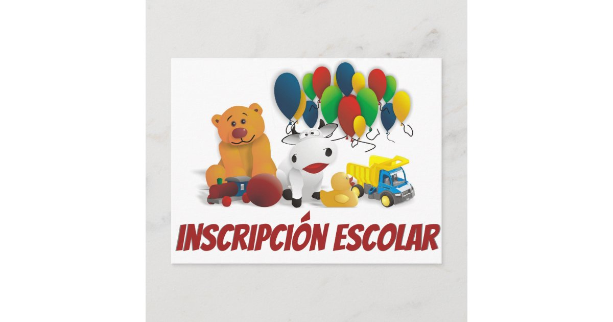 Children toy on an invitation to school enrollment postcard