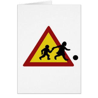 Children traffic sign for soccer card