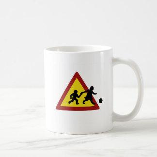 Children traffic sign for soccer classic white coffee mug