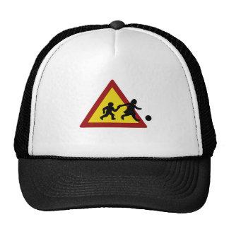 Children traffic sign for soccer trucker hat