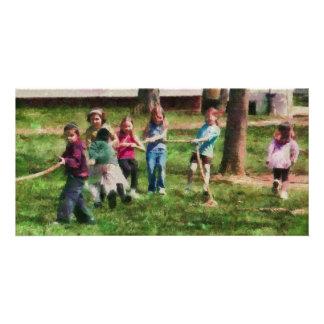 Children - Tug of War Photo Greeting Card