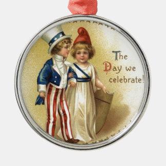 Children Uncle Sam Lady Liberty Star Metal Ornament