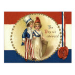 Children Uncle Sam Lady Liberty Star Postcards