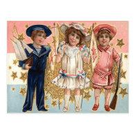 Children Uniform Stars & Stripes Post Cards