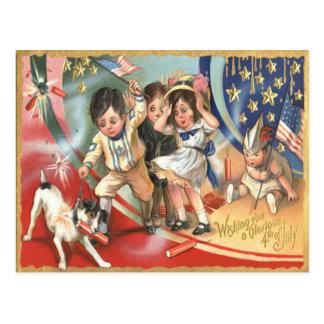 Children US Flag Dog Fireworks Firecracker Postcard