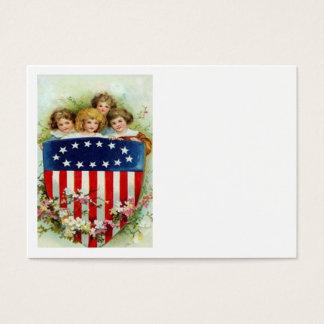 Children US Flag Flower Memorial Day Business Card