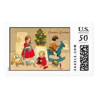 Children Vintage Christmas Stamps
