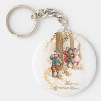 Children Walking in the Woods Vintage Christmas Keychain
