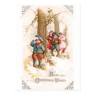 Children Walking in the Woods Vintage Christmas Postcard