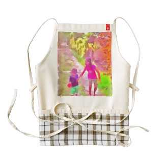children walking on a path with bushes all around zazzle HEART apron