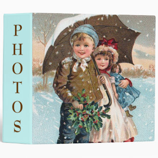 Children walking through the snow 3 ring binder
