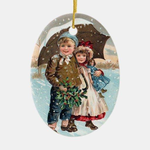 Children walking through the snow ornament