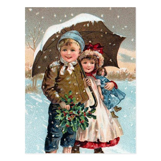 Children walking through the snow postcard