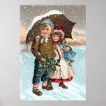 Children walking through the snow print