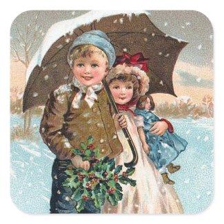 Children walking through the snow