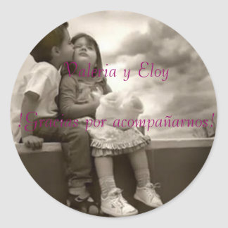 children wedding 3, Valeria and Eloy! Thanks for a Classic Round Sticker