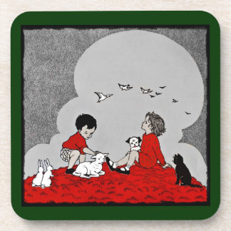 Children with a Lamb Drink Coaster
