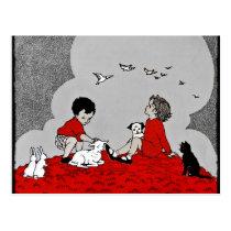 Children with a Lamb Postcard