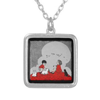 Children with a Lamb Silver Plated Necklace