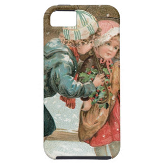 Children with an umbrella in the snow on Christmas iPhone 5 Case
