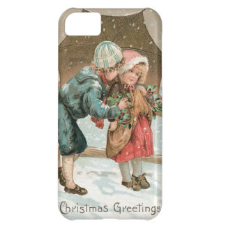 Children with an umbrella in the snow on Christmas Cover For iPhone 5C