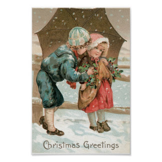 Children with an umbrella in the snow on Christmas Poster