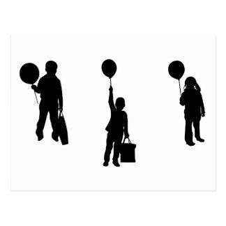 Children with balloon postcard