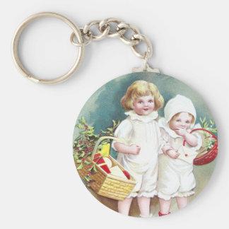 Children with Baskets Vintage Christmas Keychain