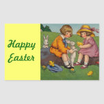 Children with Bunnies and Chicks, Easter Rectangular Stickers