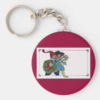CHILDREN WITH CHRISTMAS GIFTS BASIC ROUND BUTTON KEYCHAIN