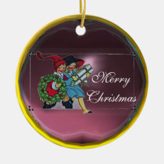 CHILDREN WITH CHRISTMAS GIFTS CERAMIC ORNAMENT