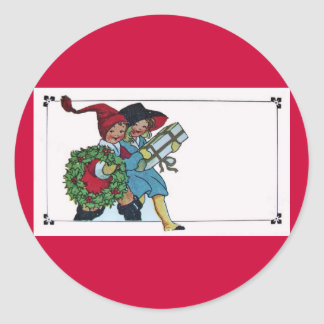 CHILDREN WITH CHRISTMAS GIFTS CLASSIC ROUND STICKER