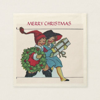 CHILDREN WITH CHRISTMAS GIFTS NAPKIN