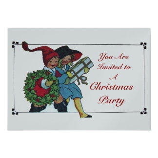 CHILDREN WITH CHRISTMAS GIFTS - silver metallic Card