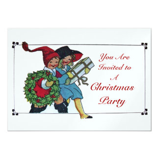 CHILDREN WITH CHRISTMAS GIFTS - white ice metallic Card