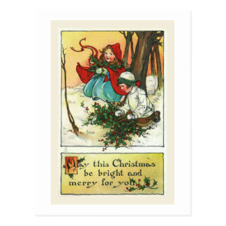 """Children with Christmas Holly"" Christmas Card Postcard"