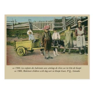 Children with dog cart, Gaspe Coast Quebec Canada Postcard