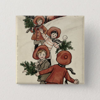 Children with Holly Throwing Snowballs Button