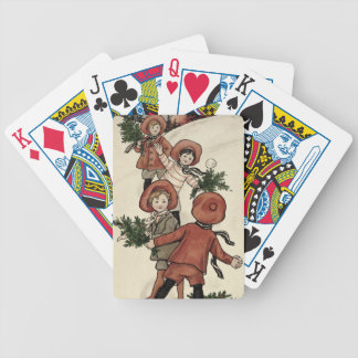 Children with Holly Throwing Snowballs (colour Bicycle Playing Cards