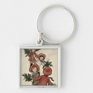 Children with Holly Throwing Snowballs Keychain