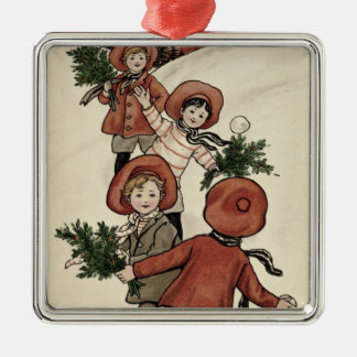 Children with Holly Throwing Snowballs Metal Ornament