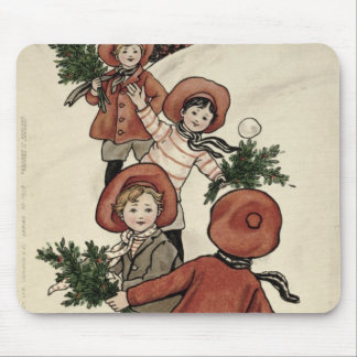 Children with Holly Throwing Snowballs Mouse Pad
